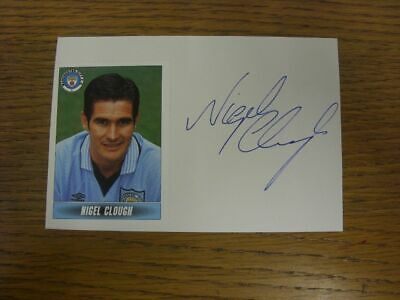 1998/1999 Autographed White Card: Manchester City - Clough, Nigel  (Sticker laid