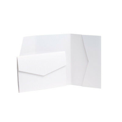 White Pearlescent Pocketfold invitations with envelopes. Wedding Wallets