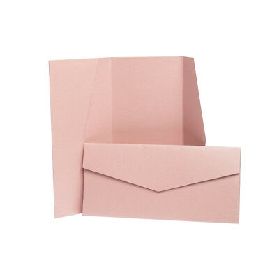 Antique Pink Pearlescent Pocketfold Wallets with envelopes. DIY Wedding Cards