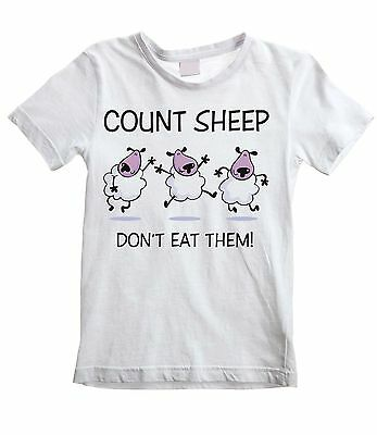COUNT SHEEP DON'T EAT THEM UNISEX KIDS T-SHIRT Vegetarian Vegan Veggie Childrens