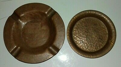 ARTS and CRAFTS COPPER ASHTRAY and PIN TRAY   (ST3)