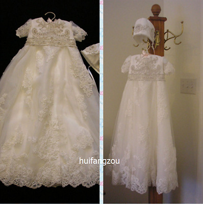 Vintage Infant Baptism Dresses Soft Lace Baby Ivory White Christening Gown 0-24M