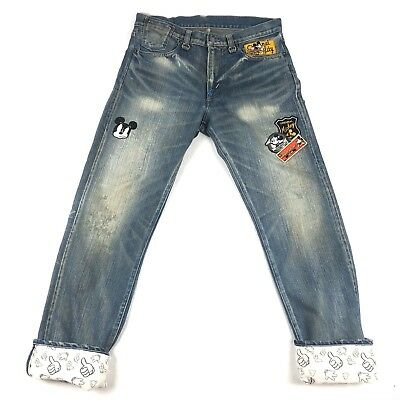 CLOT x DISNEY men's Mickey Mouse Patch jeans Sz 32x32 distressed RARE b209
