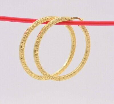 Ideal Gifts For Women 10k Yellow Gold and Rhodium Plated Diamond Cut 3mm Hoop Earrings 36x35mm