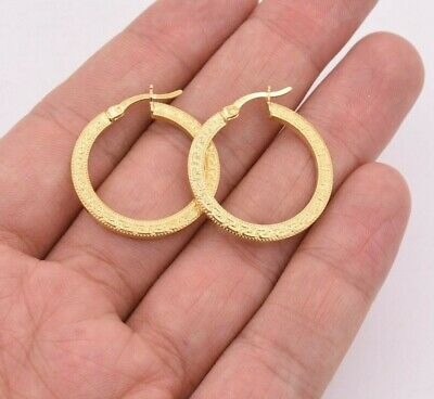 "1"" 27mm Flat Greek Key Motif Hoop Earrings 14K Yellow Gold Clad Silver 925"