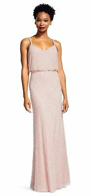 New $419 Adrianna Papell Women'S Pink Embellished Beaded Gown Dress Size 10