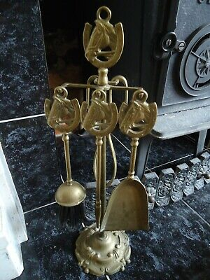 Vintage Brass Horse Motif Tall Companion Set with Stand Brush Tongs Shovel Poker