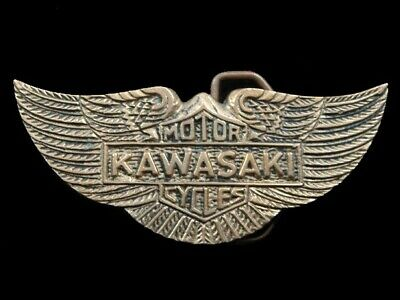 RJ03136 VINTAGE 1970s **KAWASAKI MOTORCYCLES** SOLID BRASS BARON BELT BUCKLE