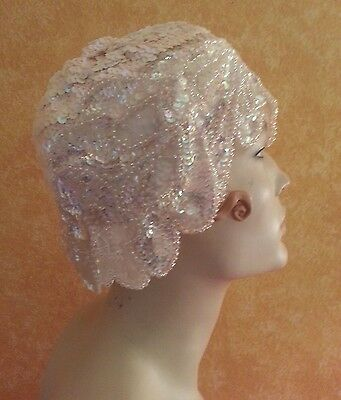 Gatsby 20's Flapper Style Iridescent White Sequin Headpiece Hat Bridal Costume