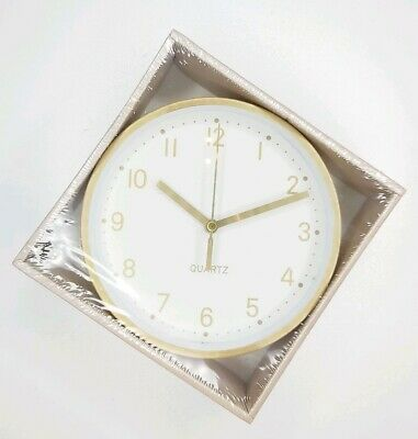 White & Gold Analogue Clock Metal Frame Desk Wall Battery Powered New Minimalist
