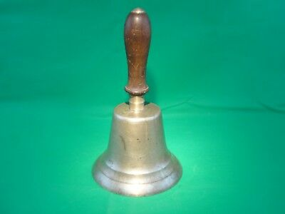 Large Antique School Church Factory Brass Bell No. 10 Wooden Handle