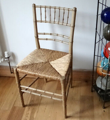 Antique Regency Faux Bamboo Rush Chair