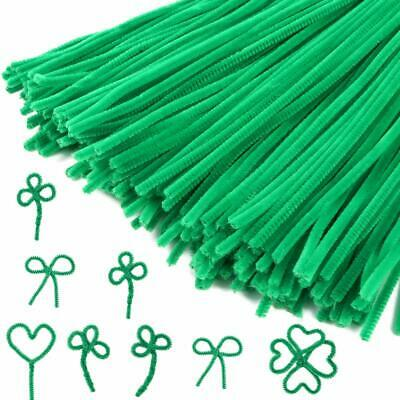 """100 Green Pipe Cleaners Chenille 6"""" 155mm x 5mm Stems Craft Fuzzy Sticks Arts UK"""