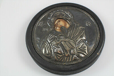 Vintage Greek Byzantine Painting and 950 Silver By Chrysanthos With Authenticity