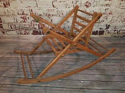 Vintage Old Wooden Baby Rocker Toy Rocking Seat Chair Abacus Display Prop