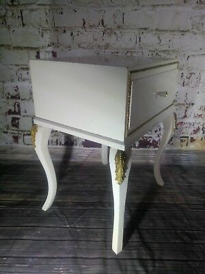 Vintage White Gold  French Louis XVI Rococo Bedroom Bed Side Table Shabby Chic