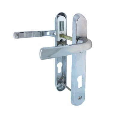 Chrome uPVC Door Handles - 92mm PZ, 122mm Screws D83