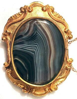 Antique Victorian Banded Agate Gold Gilded Brooch Pendant Pin Convert Clasp Vtg