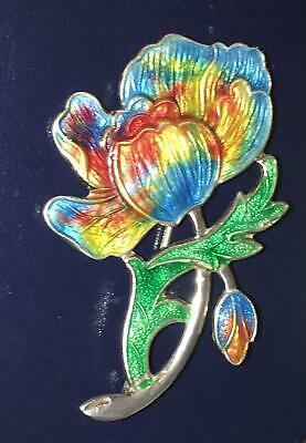 Antique Sterling Silver Guilloche Enamel Poppy Flower Brooch Art Nouveau Pin Vtg