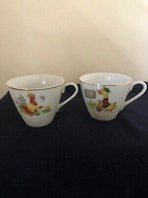 2 X Vintage Ceramic Childrens Cups Made In Japan