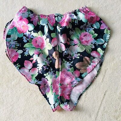 b205d7b047eb Vintage Silky Satin Panties Tap Short Flutter Smooth Shiny Wet Look Floral