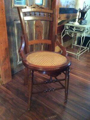 Antique Victorian Eastlake Style Cane Bottom Hip Hugger Dining Chairs Ornate 2