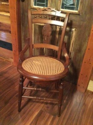 Antique Victorian Eastlake Style Cane Bottom Hip Hugger Dining Chairs Ornate 3