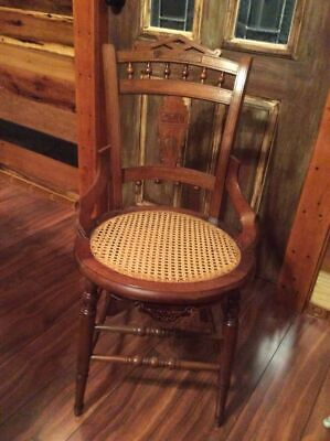 Antique Victorian Eastlake Style Cane Bottom Hip Hugger Dining Chairs Ornate 5