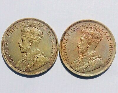 1917+1918 Canada Large Cents Uncirculated R&B Beautiful Toning #26G06 See Below