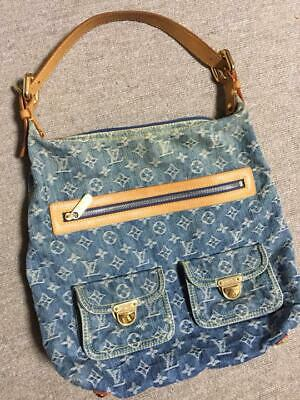 d91a874f4c Authentic LOUIS VUITTON Shoulder bag buggy GM blue monogram denim leather  M95048