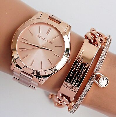 ee109f4b0c6c Michael Kors Women s Watch Mk3197 Slim Runway Colour Rose Gold New