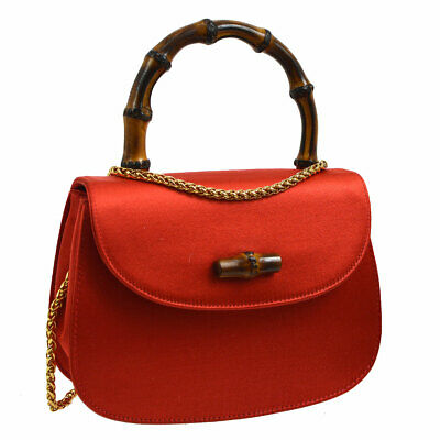 af7d5bcc4ff3 Authentic GUCCI Bamboo Line 2way Mini Hand Bag Red Satin Italy Vintage  S08697