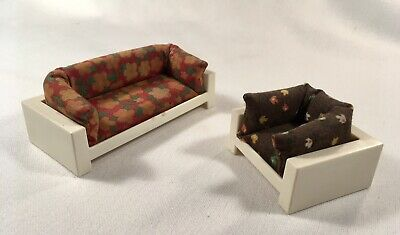 1981 VINTAGE FISHER PRICE DOLLHOUSE FURNITURE 2pc Lot SOFA CHAIR MCM