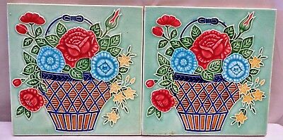 TILE ART NOUVEAU MAJOLICA FLOWERPOT VINTAGE M S TILE WORKS JAPAN  COLLECTIB 2p#2