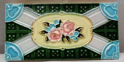 Tile Japan Majolica Art Nouveau F M Vintage Rose Flower Design Collectibles Rare