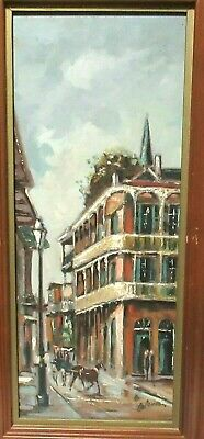 Coleman New Orleans French Quarters Original Oil Board Street Scene Panting