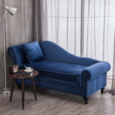 Velvet Vintage Chaise Longue Lounge Small Sofa Day Bed Chair Queen Anne Cushion