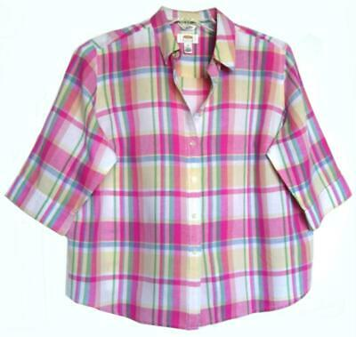 Nwot Talbots Linen/Cotton Pink/Green Pastel Plaid Shirt Plus Petite Size 2X