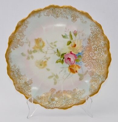 c1892-02 Antique Hand Painted Roses DOULTON BURSLEM C4673 Plate 22cm - Rd 184626