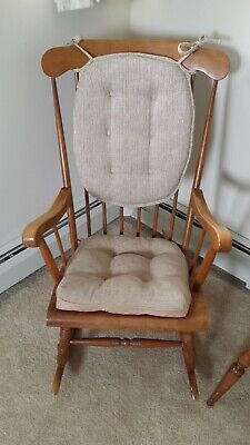 Hitchcock Style Wooden Rocking Chair with Cushions - Good Condition
