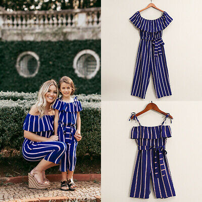 Family Clothes Lady's Mother Daughter Matching Summer Baby Girls Jumpsuit Outfit