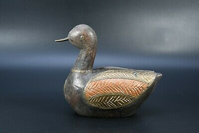 Hand Crafted Duck Statue Rare Old Vintage Brass Fitted Wooden Swan Figure Nepal