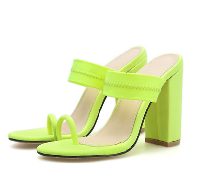 Sexy Womens Strappy Platform Toe Ring Sandals Ladies High Block Heels Shoes Size