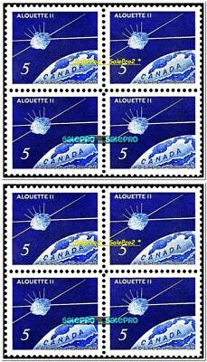 2x CANADA 1966 SATELLITE ON EARTH ALOUETTE MINT FACE 40 CENT MNH STAMP BLOCK LOT