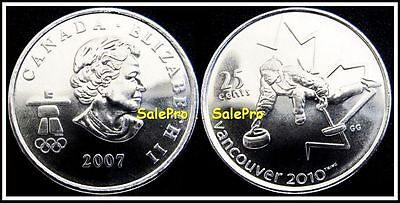 Canada 2007 Canadian Vancouver Olympic Quarter Queen Curling 25 Cent Coin Unc