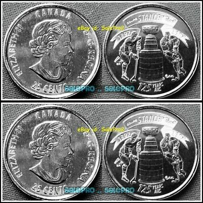 2x CANADA 2017 CANADIAN QUARTER 125TH ANNIVERSARY HOCKEY STANLEY CUP 25 COIN LOT