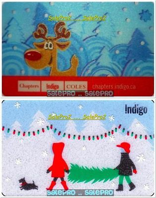 2x CHAPTERS INDIGO CHRISTMAS TREE REINDEER LENTICULAR COLLECTIBLE GIFT CARD LOT