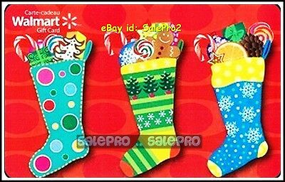Walmart 2013 Christmas Colorful 3 Stockings Candy Cane Collectible Gift Card