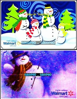 2x WALMART XMAS SNOWMAN MAGIC WAND FROSTY CRYSTAL & KIDS COLLECTIBLE GIFT CARD L
