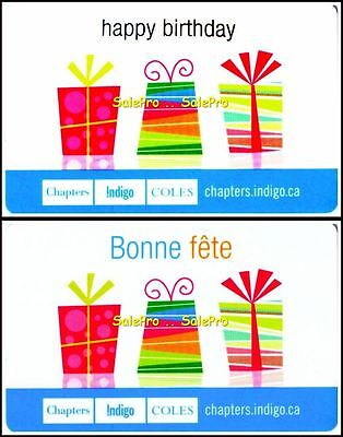 2x CHAPTERS INDIGO HAPPY BIRTHDAY ENGLISH & FRENCH COLLECTIBLE GIFT CARD SET LOT